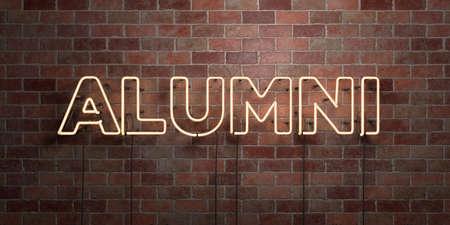 同窓会 - 蛍光ネオン管サインのレンガ - 前面ビュー - 3 D レンダリングされたロイヤリティ フリー ストック画像で。オンライン バナー広告やダイレ