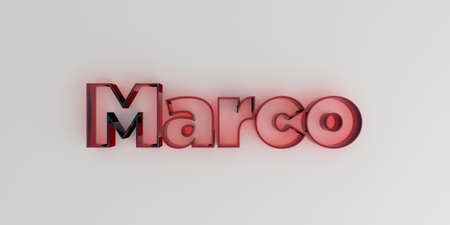 marco: Marco - Red glass text on white background - 3D rendered royalty free stock image. Stock Photo