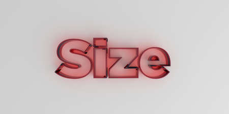 image size: Size - Red glass text on white background - 3D rendered royalty free stock image.