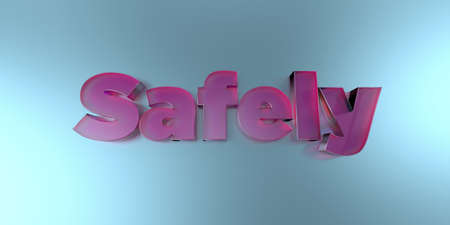 Safely - colorful glass text on vibrant background - 3D rendered royalty free stock image. Stock Photo