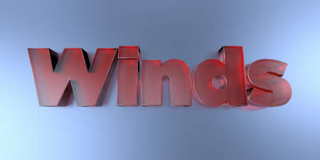 Winds - colorful glass text on vibrant background - 3D rendered royalty free stock image. Stock Photo