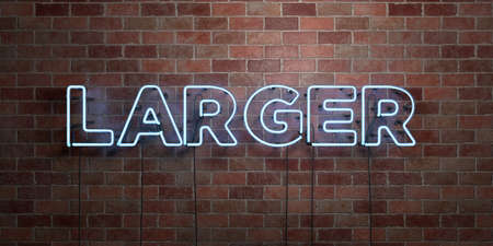 larger: LARGER - fluorescent Neon tube Sign on brickwork - Front view - 3D rendered royalty free stock picture. Can be used for online banner ads and direct mailers. Stock Photo