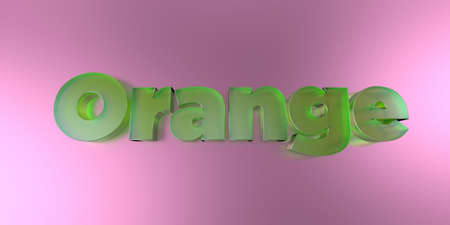 Orange - colorful glass text on vibrant background - 3D rendered royalty free stock image.