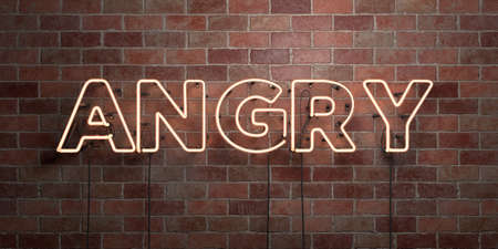ANGRY - fluorescent Neon tube Sign on brickwork - Front view - 3D rendered royalty free stock picture. Can be used for online banner ads and direct mailers.