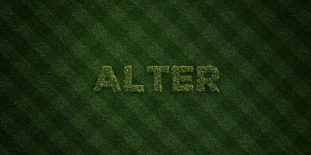 alter: ALTER - fresh Grass letters with flowers and dandelions - 3D rendered royalty free stock image. Can be used for online banner ads and direct mailers.