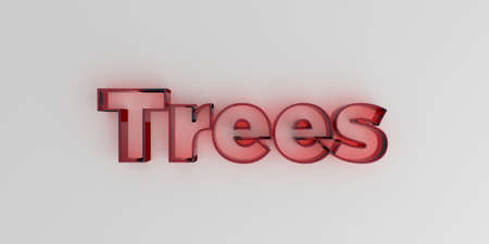 Trees - Red glass text on white background - 3D rendered royalty free stock image.