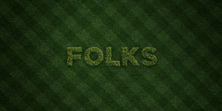 FOLKS - fresh Grass letters with flowers and dandelions - 3D rendered royalty free stock image. Can be used for online banner ads and direct mailers.