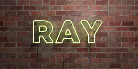 RAY - fluorescent Neon tube Sign on brickwork - Front view - 3D rendered royalty free stock picture. Can be used for online banner ads and direct mailers.