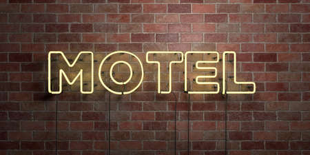 MOTEL - fluorescent Neon tube Sign on brickwork - Front view - 3D rendered royalty free stock picture. Can be used for online banner ads and direct mailers. 免版税图像