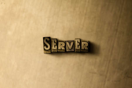 SERVER - close-up of grungy vintage typeset word on metal backdrop. Royalty free stock illustration.  Can be used for online banner ads and direct mail.