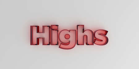 highs: Highs - Red glass text on white background - 3D rendered royalty free stock image.
