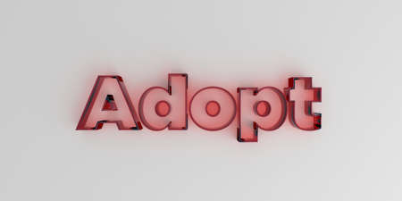 Adopt - Red glass text on white background - 3D rendered royalty free stock image.