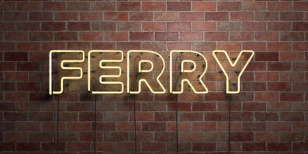 FERRY - fluorescent Neon tube Sign on brickwork - Front view - 3D rendered royalty free stock picture. Can be used for online banner ads and direct mailers.