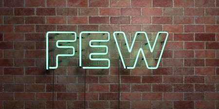 FEW - fluorescent Neon tube Sign on brickwork - Front view - 3D rendered royalty free stock picture. Can be used for online banner ads and direct mailers. Reklamní fotografie