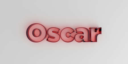 Oscar - Red glass text on white background - 3D rendered royalty free stock image. Stock Photo