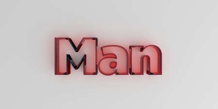 Man - Red glass text on white background - 3D rendered royalty free stock image.