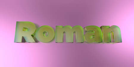 roman alphabet: Roman - colorful glass text on vibrant background - 3D rendered royalty free stock image.