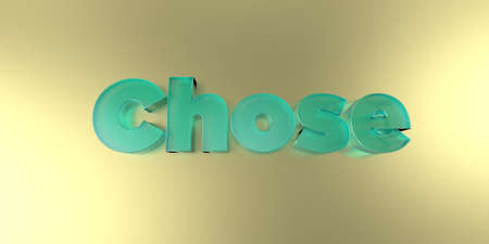 Chose - colorful glass text on vibrant background - 3D rendered royalty free stock image.
