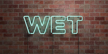 be wet: WET - fluorescent Neon tube Sign on brickwork - Front view - 3D rendered royalty free stock picture. Can be used for online banner ads and direct mailers.