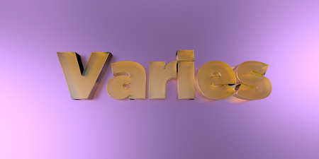Varies - colorful glass text on vibrant background - 3D rendered royalty free stock image.