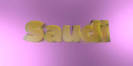 Saudi - colorful glass text on vibrant background - 3D rendered royalty free stock image.