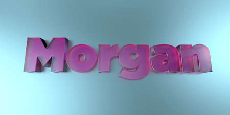 Morgan - colorful glass text on vibrant background - 3D rendered royalty free stock image.