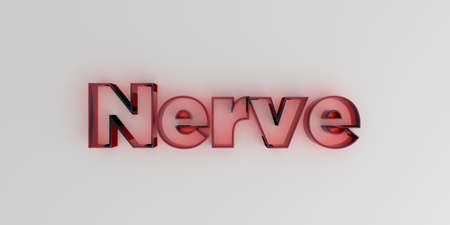 nerve message: Nerve - Red glass text on white background - 3D rendered royalty free stock image. Stock Photo