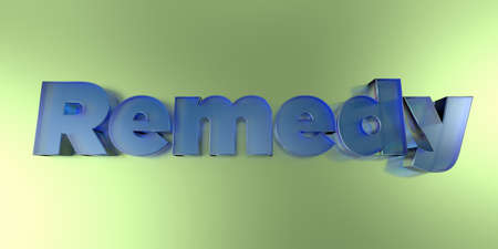 Remedy - colorful glass text on vibrant background - 3D rendered royalty free stock image. Banque d'images