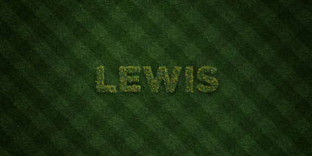 lewis: LEWIS - fresh Grass letters with flowers and dandelions - 3D rendered royalty free stock image. Can be used for online banner ads and direct mailers.