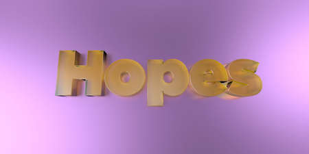 Hopes - colorful glass text on vibrant background - 3D rendered royalty free stock image.