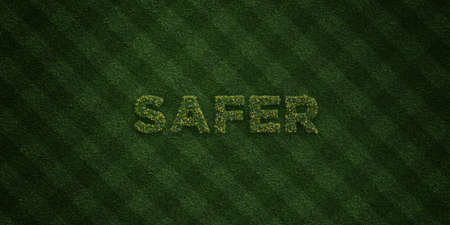 safer: SAFER - fresh Grass letters with flowers and dandelions - 3D rendered royalty free stock image. Can be used for online banner ads and direct mailers.