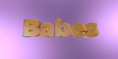 babes: Babes - colorful glass text on vibrant background - 3D rendered royalty free stock image.