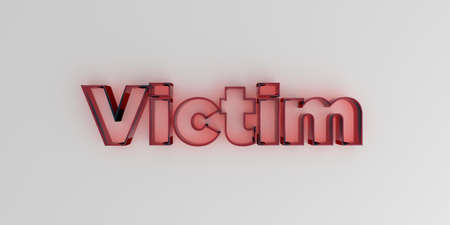 Victim - Red glass text on white background - 3D rendered royalty free stock image.