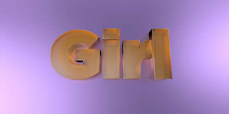 Girl - colorful glass text on vibrant background - 3D rendered royalty free stock image.