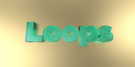 Loops - colorful glass text on vibrant background - 3D rendered royalty free stock image.