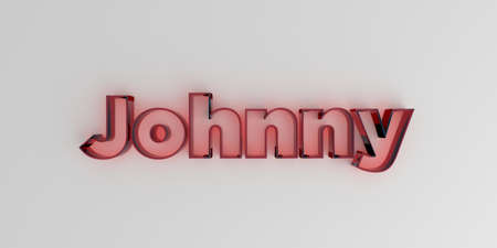 Johnny - Red glass text on white background - 3D rendered royalty free stock image. Stock Photo