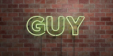GUY - fluorescent Neon tube Sign on brickwork - Front view - 3D rendered royalty free stock picture. Can be used for online banner ads and direct mailers. Stock Photo