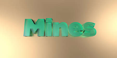 Mines - colorful glass text on vibrant background - 3D rendered royalty free stock image.
