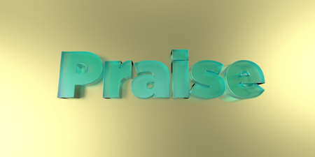 Praise - colorful glass text on vibrant background - 3D rendered royalty free stock image.