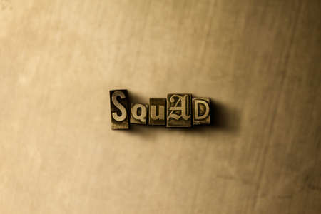 SQUAD - close-up of grungy vintage typeset word on metal backdrop. Royalty free stock illustration.  Can be used for online banner ads and direct mail.