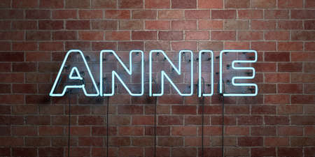 annie: ANNIE - fluorescent Neon tube Sign on brickwork - Front view - 3D rendered royalty free stock picture. Can be used for online banner ads and direct mailers.