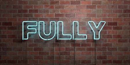 FULLY - fluorescent Neon tube Sign on brickwork - Front view - 3D rendered royalty free stock picture. Can be used for online banner ads and direct mailers.