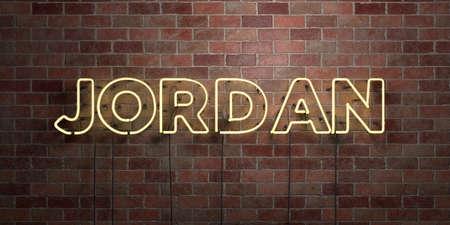 JORDAN - fluorescent neonbuiss bord op metselwerk - vooraanzicht - afbeelding 3D royalty-vrije stock Afbeelding. Kan worden gebruikt voor online banneradvertenties en direct mailers.