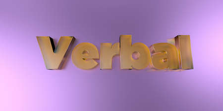 Verbal - colorful glass text on vibrant background - 3D rendered royalty free stock image.