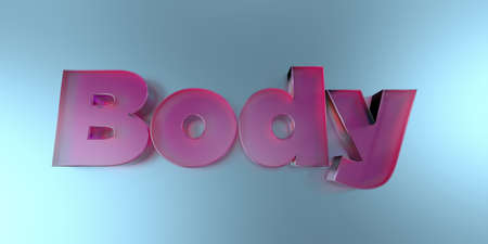 Body - colorful glass text on vibrant background - 3D rendered royalty free stock image. Stock Photo