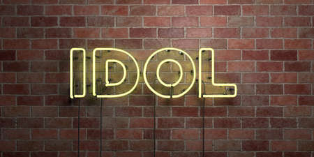 IDOL - fluorescent Neon tube Sign on brickwork - Front view - 3D rendered royalty free stock picture. Can be used for online banner ads and direct mailers.