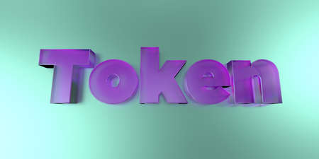 token: Token - colorful glass text on vibrant background - 3D rendered royalty free stock image. Stock Photo