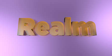 Realm - colorful glass text on vibrant background - 3D rendered royalty free stock image.