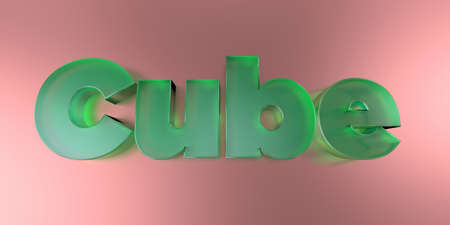 Cube - colorful glass text on vibrant background - 3D rendered royalty free stock image. 写真素材