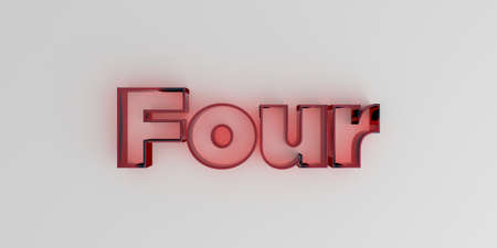 Four - Red glass text on white background - 3D rendered royalty free stock image.
